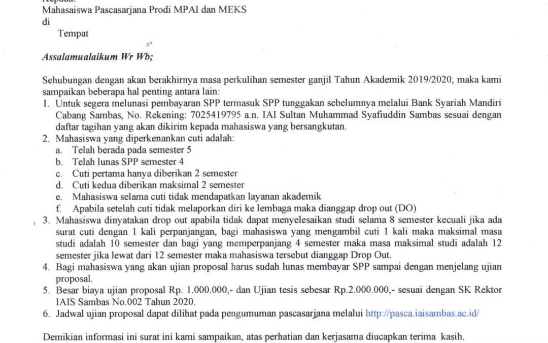 Informasi Penting bagi seluruh mahasiswa Pascasarjana IAI Sultan Muhammad Syafiuddin Sambas